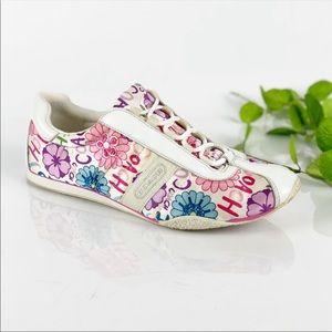 Coach Satin Floral Sneaker Tennis Shoe Lace Up